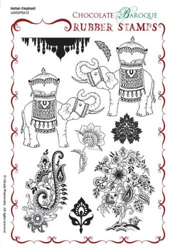 Chocolate Baroque Indian Elephant Rubber Stamp